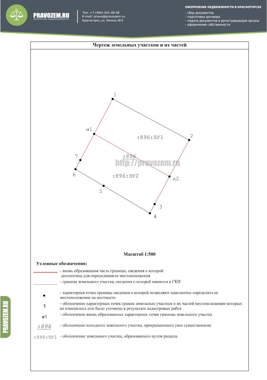 Схема раздела земельного участка без прохода