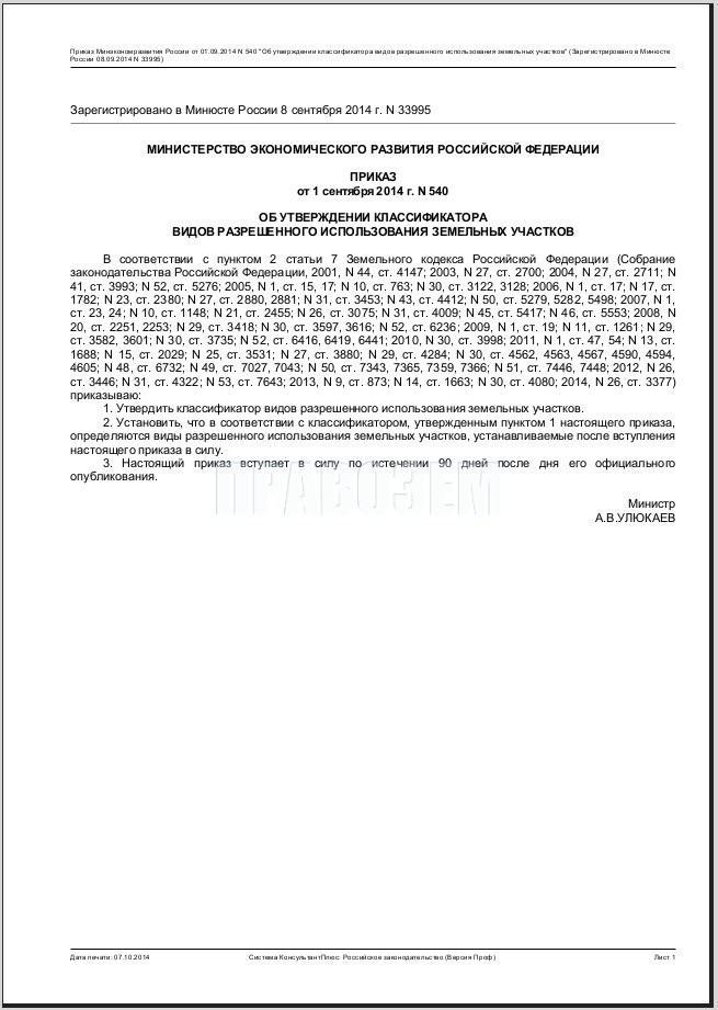 Классификаторы видов разрешенного использования земельных участков А/Н Правозем