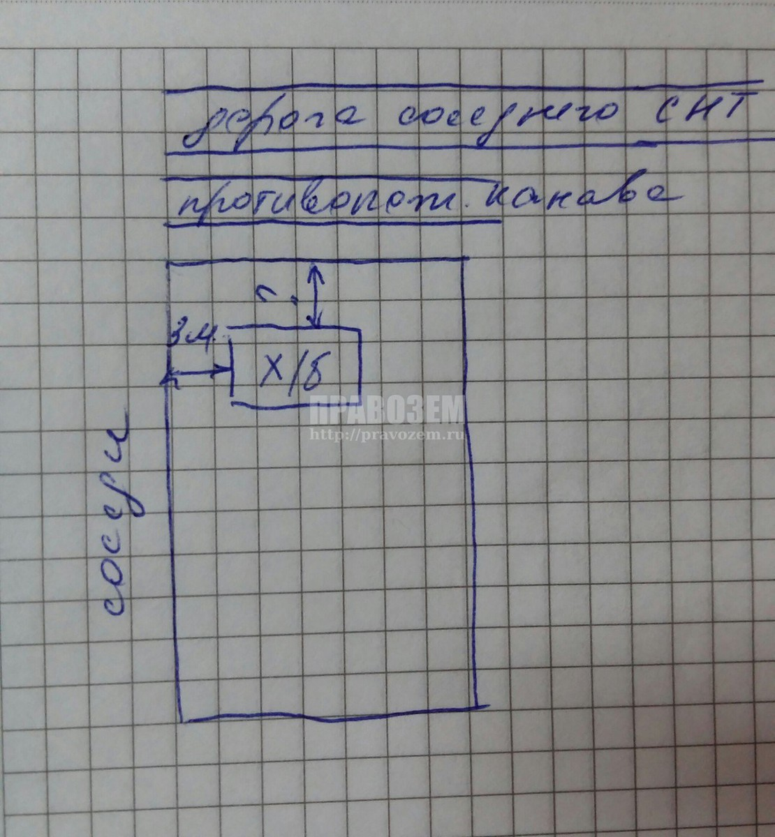 план расположения участка А/Н Правозем