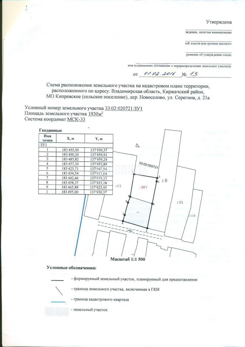 схема расположения участка для межевания
