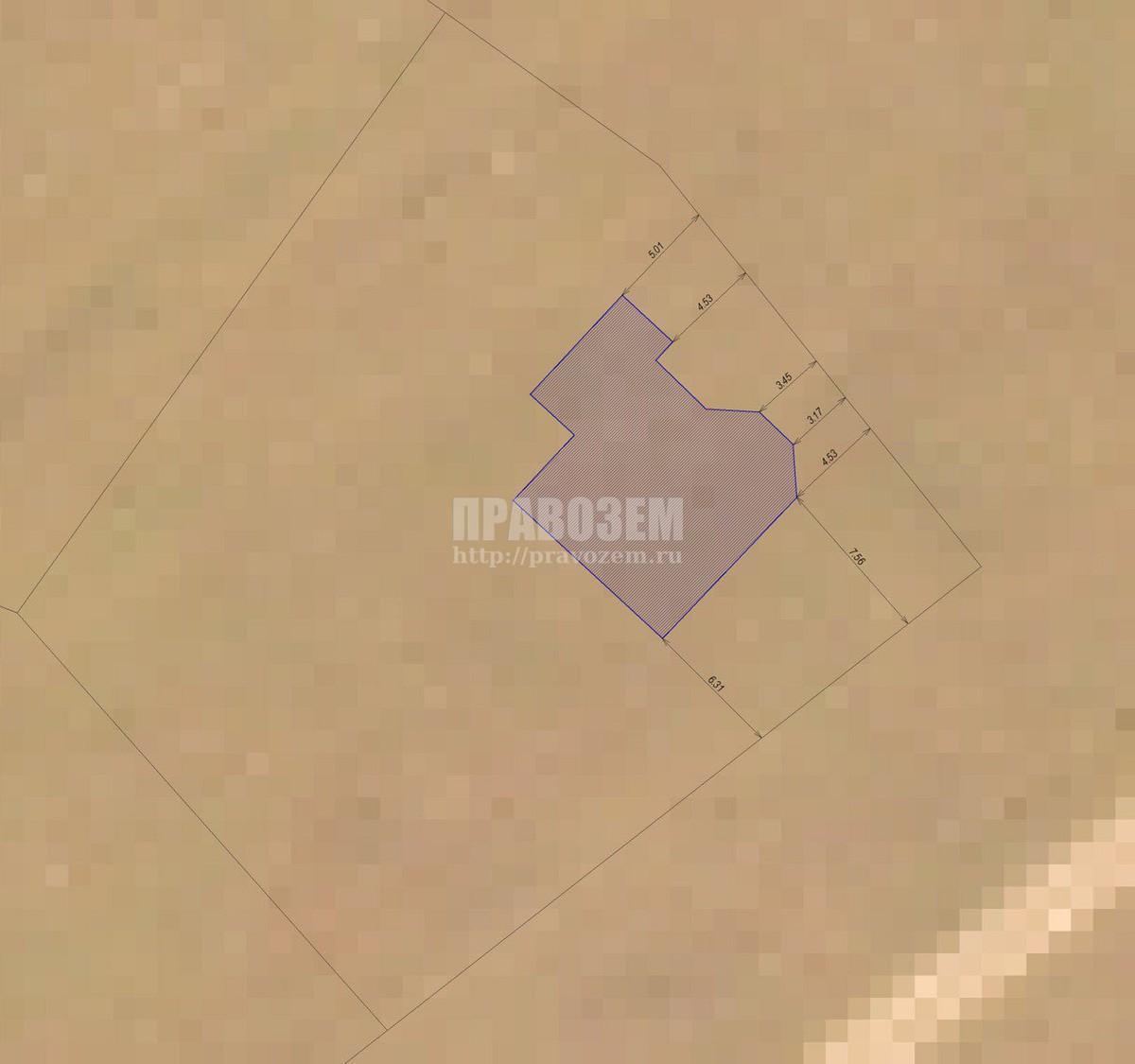 План дома с отступами от дороги А/Н Правозем