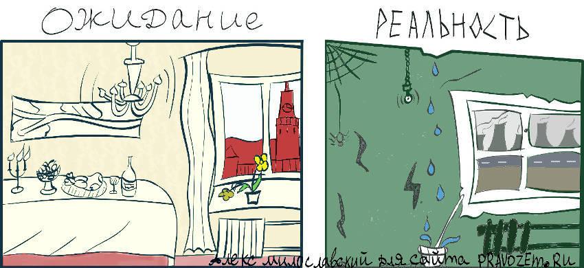 карикатура квартира ожидание и реальность